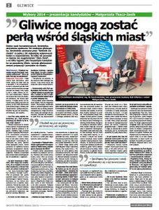Wywiad ukazał się 14 października wgliwickim wydaniu Gazety Miejskiej